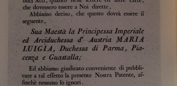 Titolo di Maria Luigia come Duchessa di Parma, Piacenza e Guastalla.