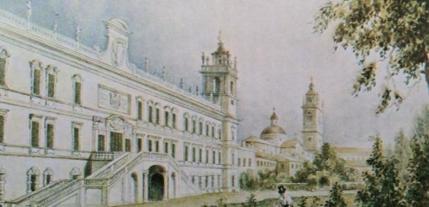 La villa ducale di Colorno: acquerello di Giuseppe Alinovi.