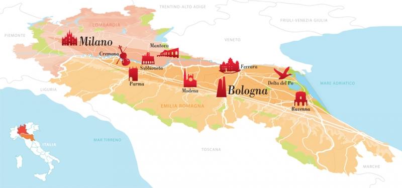 Cartina Emilia Lombardia.Il Po Divide Le Regioni Il Cibo Le Unisce E La Romagnardia